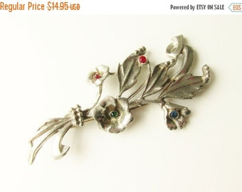 SaLe Large Vintage Rhinestone Floral Flower Bouquet Brooch 4 inches 1920s