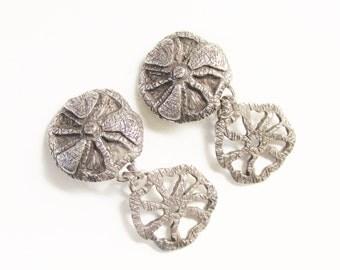 Modernist ASSAI Paris Pewter Dangle Earrings 1970s France Clip on Brutalist