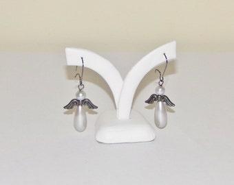 Pearl Drop Earrings, Beaded Earrings, Silver Earrings, Pearl Earrings, Glass Pearl Earrings, Silver Pearl Earrings, Angel Wing Earrings