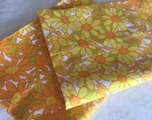Vintage Yellow Pillowcases, 1970s Flower Power, Glamping