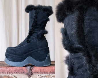 black furry platform boots - 9 women
