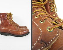 Vintage 70s Moc Toe Work Boots Brown Leather Dexter Armortred Soles USA - Size 11 W