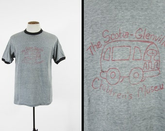 Vintage 80s Museum T-shirt Threadbare Grey Ringer Scotia Glenville School - Large