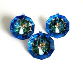 Vintage Jewel Brite Christmas Ornaments Faceted Mirrored Plastic Indent Angels