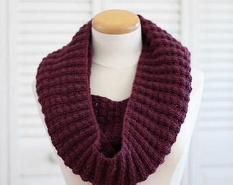 Knitting Pattern Scarf, Infinity Cowl, Wool, Burgundy, Bordeaux