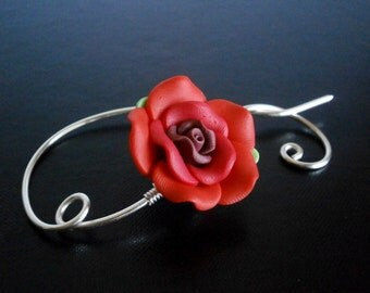 Shawl Pin, Scarf Pin , Red Rose Flower brooch, Wire Wrapped Jewelry, Pin for knitters, Wirework