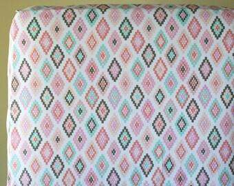 Aztec Nursery Bedding, Changing Pad Cover, Fitted Crib Sheet, Baby Girl Bedding, Tribal Crib Bedding, Baby Bedding, Arrow Flight Cornered