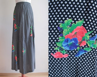 Vintage Maxi Skirt - Boho Hippie Skirt with Floral Print - Size S