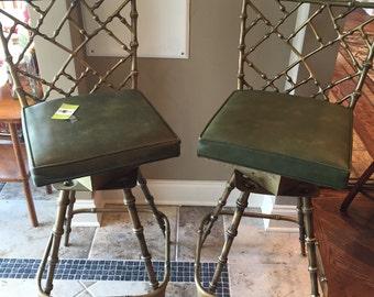 Swivel gilded chairs. Chinoiserie bamboo chairs