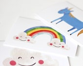 Pack of Three Magical Cards, Unicorn, Rainbow & Happy Cloud