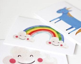 Pack of Three Magical Cards, Unicorn, Rainbow & Happy Cloud