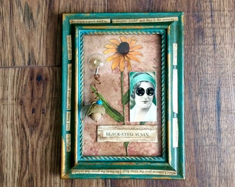 Black Eyed Susan, Assembled Art, Assemblage Art, Mixed media Art, Altered Art