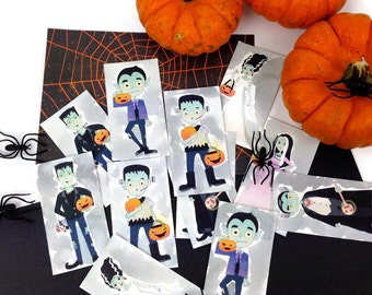 10 Watercolor Addams Family Watercolor Die Cuts. Make Halloween Gift Tags, Cards, Invitations. Fun Gift Embellishments. Novelty Gift Tags