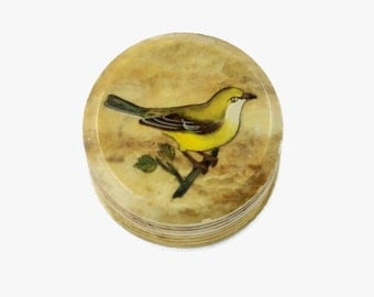 Vintage Italian Hand Painted Stone Box with Bird Motif