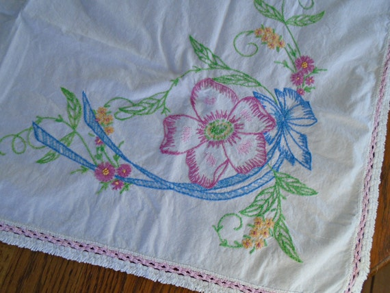 Vintage embroidered tablecloth flower hand