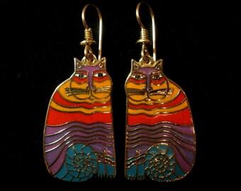 """LAUREL BURCH """"Rainbow Cats"""" Dangle Earrings Most Popular in My Shop"""