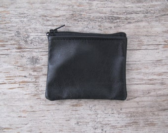 Small Zippered Coin Pouch - Black Repurposed Leather