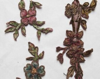 3 pcs Antique Silk Chenille/Metallic Flower Applique Trim a