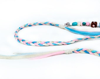 Pastel Braided Headband, tribal feather hair extension, Gypsy braid, baby blue pink white hair, free spirit, boho headwrap, hippie style