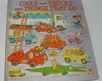 Vintage Richard Scarry's Cars and Trucks and Things That Go Hardcover Book 1975