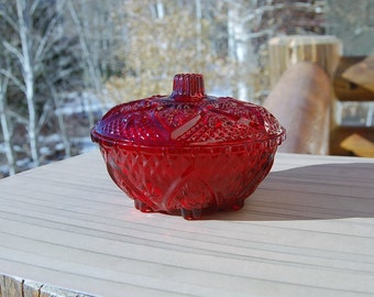 ruby Red Pressed Candy Dish  Covered Candle