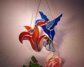 Stained Glass Suncatcher Hummingbird Seeking Nectar  (691)