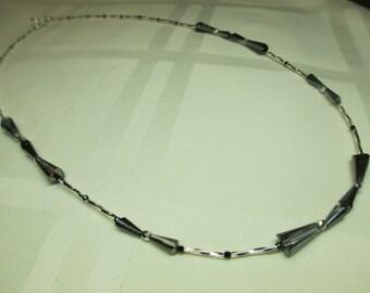 Sparkly Gunmetal Grey Twist Necklace