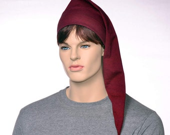 Pointed Nightcap Burgundy Black Pinstripe Gothic Cotton Night Cap Pirate Headwear Traditional Maroon Hat to Sleep in Alternative Chemo Hat