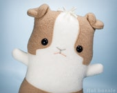 Guinea Pig stuffed animal, Dutch cavy plush toy, Guinea Pig fleece doll, Cute stuffy kawaii plushie, Handmade Easter gift boy girl tan white