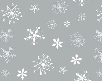 Winter Wonderland - Snowflakes Stone Grey by Heather Rosas from Camelot Cottons