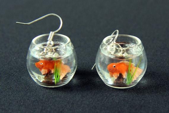 goldfisch im glas goldfischglas ohrringe h nger miniblings. Black Bedroom Furniture Sets. Home Design Ideas