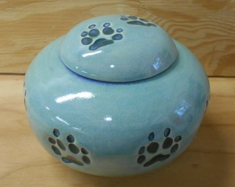 READY to SHIP - Mint Blue and Turquiose Medium Large Size Dog Urn with Walking Paws