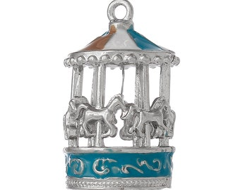 ONE - Large Silver Plated Enamel Charm. 3D CAROUSEL. Merry-Go-Round. Horses.