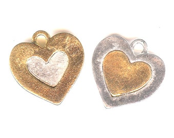 HEART Charm. Sterling Silver Plate and Gold Finish. Two Sided Heart. Two Colors From Which to Choose. Made in the USA.