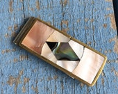 Vintage Abalone Mother of Pearl Money Clip Silver and Brass