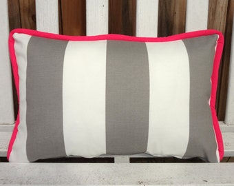 OUTDOOR Grey & White Large Stripe Pillow Cover With Hot Pink Piping Deck Patio Pillow Cover Gray Stripe Choose Size