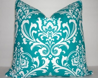 Decorative Pillow Cover Turquoise Damask Print Pillow Covers Turquoise Print Pillow Cover Choose Size