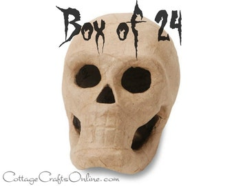 Halloween Skull 3D Paper Mache Skeleton, 5 1/2 Inches  - BOX of 24 - Darice,  Day of the Dead, SHIPS Priority, Halloween Decor, Craft Supply