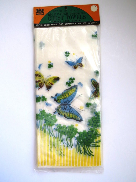 Items Similar To Butterfly Guest Towels Rice Paper Disposable Hand Towels Package Of 24 By