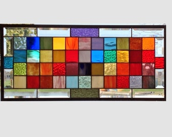 Large Rainbow stained glass window panel geometric squares stained glass panel window hanging modern abstract transom 0123 25 x 11 1/4