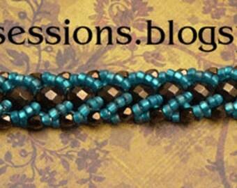 Flat Spiral bracelet in bronze and blue