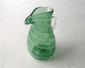 Small Pitcher - Green White tripe  :DISASTER RELIEF