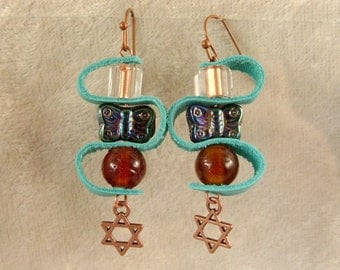 Leather, Glass, and Metal Earrings - LE37