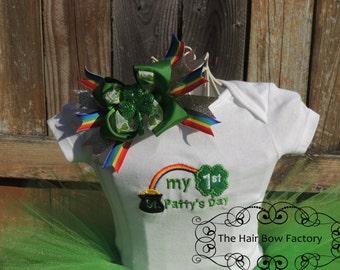 The Hair Bow Factory St. Patricks Day Shamrock Hair Bow Green Gold and Rainbow ST. PATRICK'S DAY