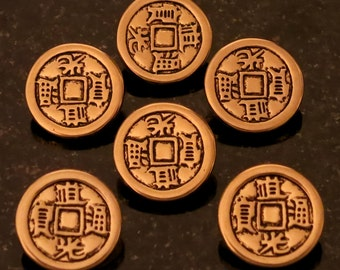 "4 Gold Asian Coin Buttons Shank Buttons Measure 3/4"" 4 Gold Coin Shank Buttons"