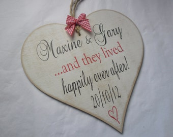 Personalised Wooden Wedding Gift Heart