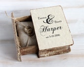 Rustic Wedding Box Personalized Ring Bearer Box / Pillow Еngagement Ring box Book Box Jewelry Box Wedding Ring Holder Custom Ring Box