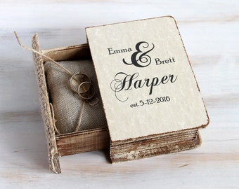 Rustic Wedding Box Personalized Ring Bearer Box Еngagement Ring box Book Box Pillow Alternative Wedding Ring Holder Custom Ring Box