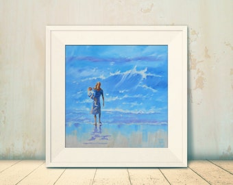 """12"""" x 12"""" Art Print of my Original Oil Painting. """"Mother and Child on the Beach"""" Giclee Print."""