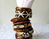 Selection of Vintage Chunky Bangles: Wood, Bone, Brass; Natural, Stained, Etched, Carved, Inlaid; Bone, Brass & Shell, Ethnic Chic Bangles
